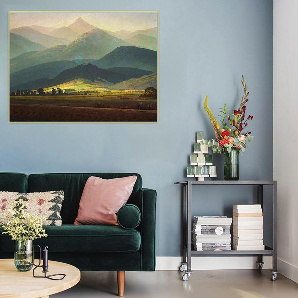 Citon Caspar David Friedrich《Giant Mountains》Canvas Oil Painting landscape Artwork Poster Painting Wall Decor Home Decoration
