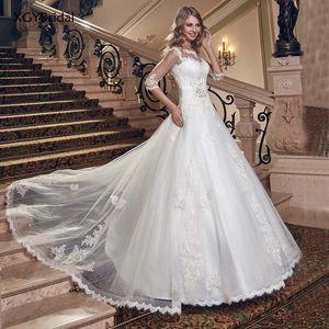New Arrival Wedding Dresses Elegant Half Sleeve Lace Up Back Ball Gown Bridal Dresses Lace Luxury Vestido de Noiva платье