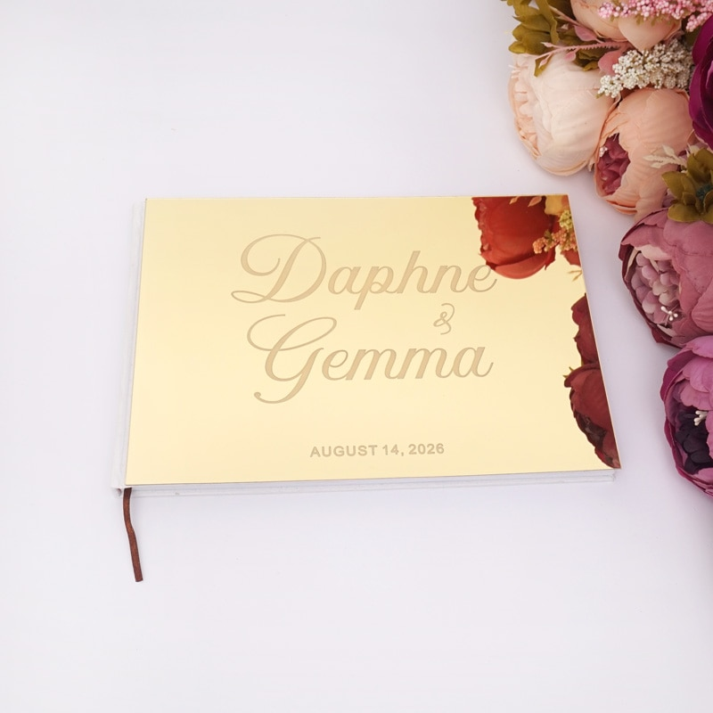 25x18 سنتيمتر مخصص الزفاف الأفقي توقيع دفتر الزوار الاكريليك مرآة بيضاء فارغة شخصية كتب حفلة Favors هدايا العروس