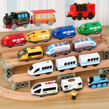 Kids RC Electric Train Set Locomotive Magnetic Train Diecast Slot Toy Fit for Wooden Train Railway T