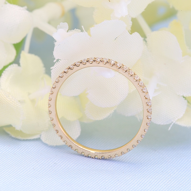 Eternity Female Moissanite Ring Solid 14K Yellow Gold Micro Pave Wedding Band Rings for Women Bridal Party Jewelry Gift
