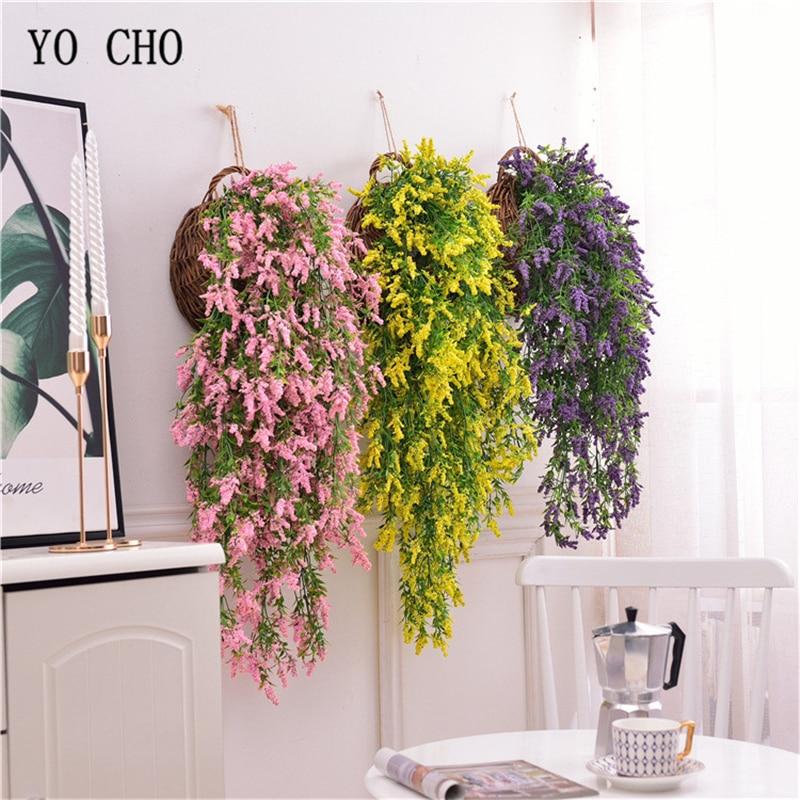 YO CHO Artificial flor vid colgante planta de lavanda falsa verde planta ramitas enredadera colgante hogar jardín decoración de la boda