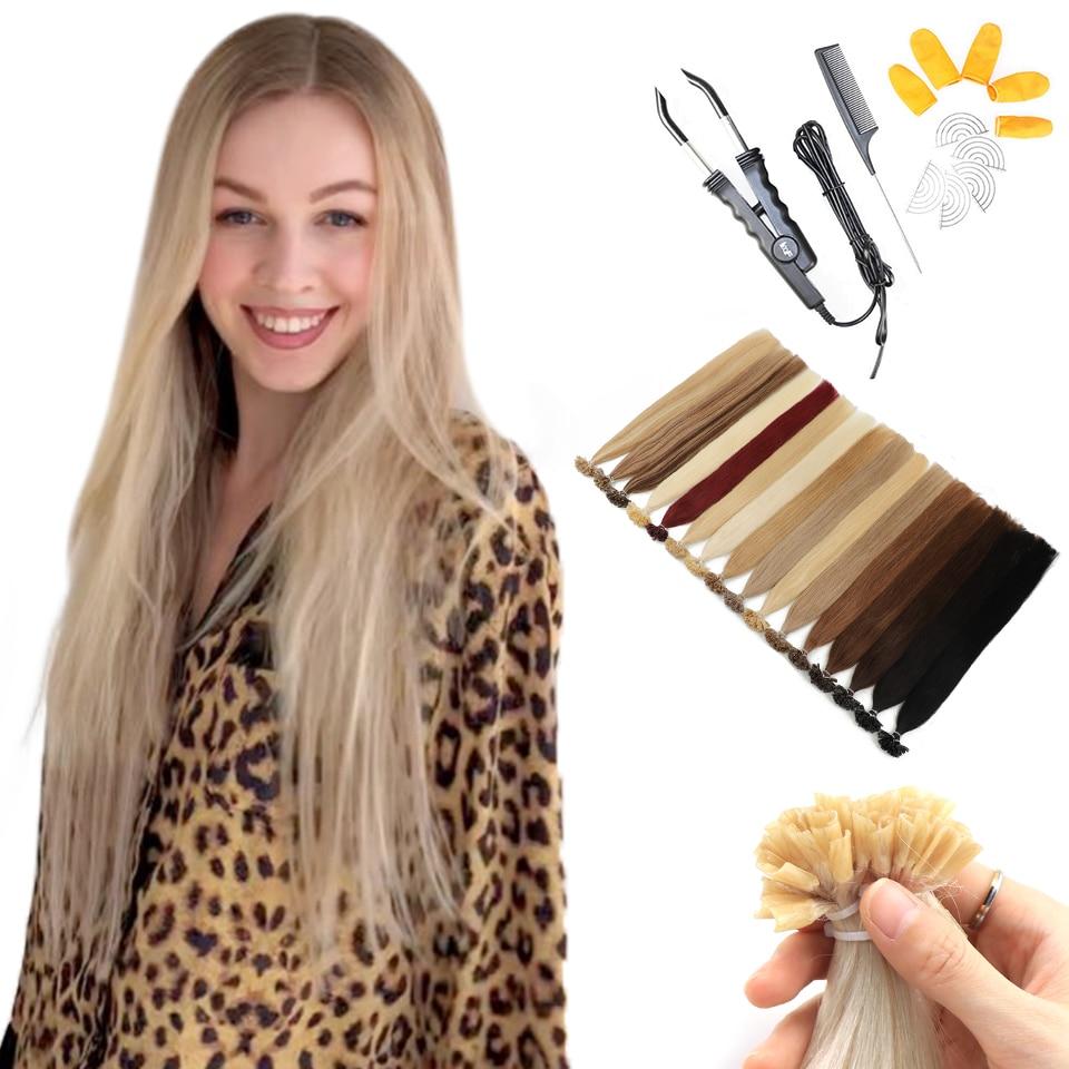 MRSHAIR/набор, накладные волосы с наконечником для ногтей, прямые волосы Remy, кератиновые Предварительно Связанные человеческие волосы для нара...