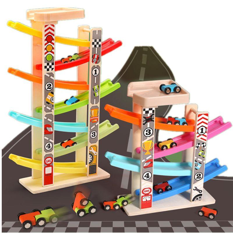 Wooden Train 7-Layer Race Track & 8 Mini Inertia Race Car Sliding Toy Vehical &T