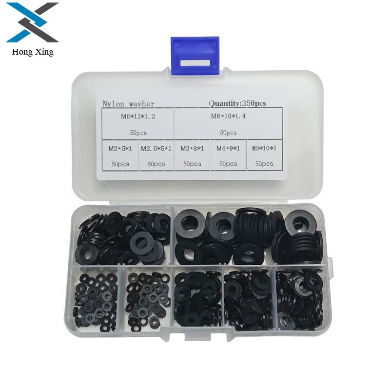 Kit de tornillos de plástico de arandela negra M2-M8/PCB de nailon de 350 Uds con caja de plástico