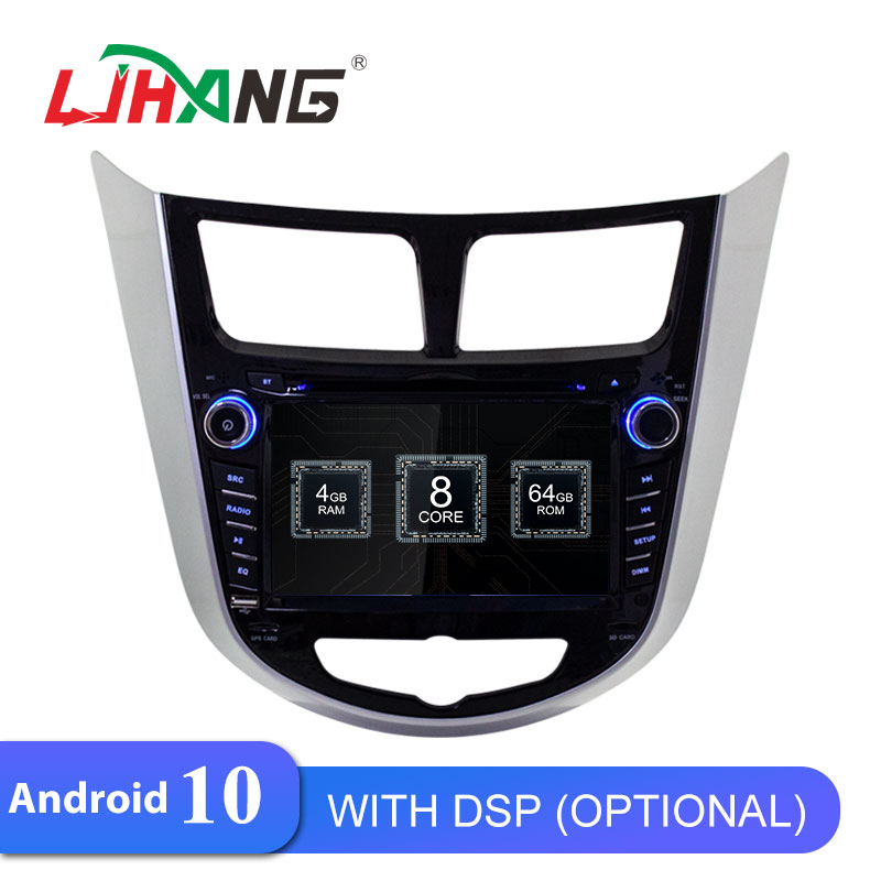 LJHANG Android 10 reproductor de DVD del coche para Hyundai Solaris Verna acento 2011-2016 WIFI Multimedia GPS Navi 1 Din coche Radio Estéreo Auto