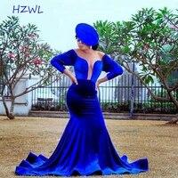 aso ebi roya blue velvet prom dresses plus size sheer neck long sleeves mermaid evening gowns south african robe de soiree