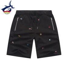 Tace & marca Shark pantalones cortos de verano para hombre 97% algodón bordado multibolsillos cremallera pantalones de chándal Jogging pantalones cortos Casuales