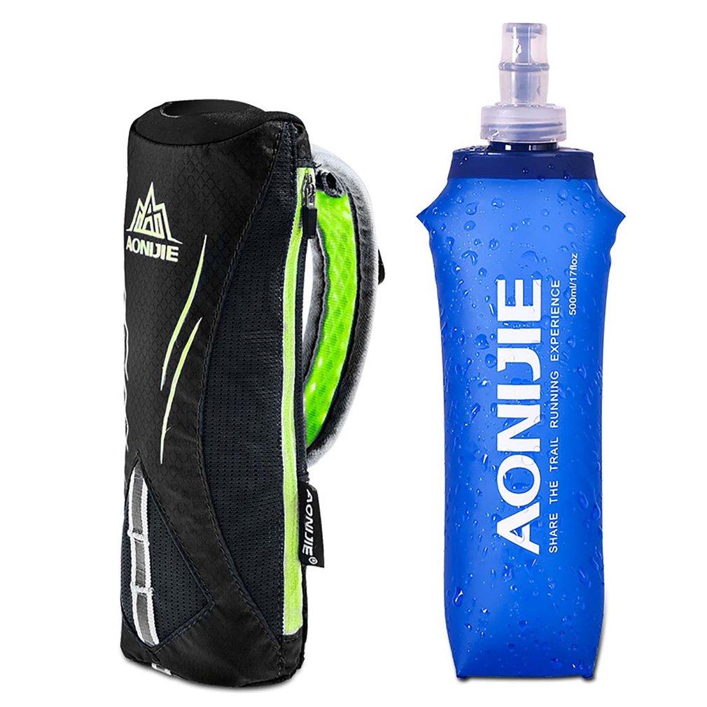 Bolsas de agua de 500ML azul sólido Camping al aire libre senderismo bonito frasco suave deportes ciclismo correr agua hidratación botella liquidación