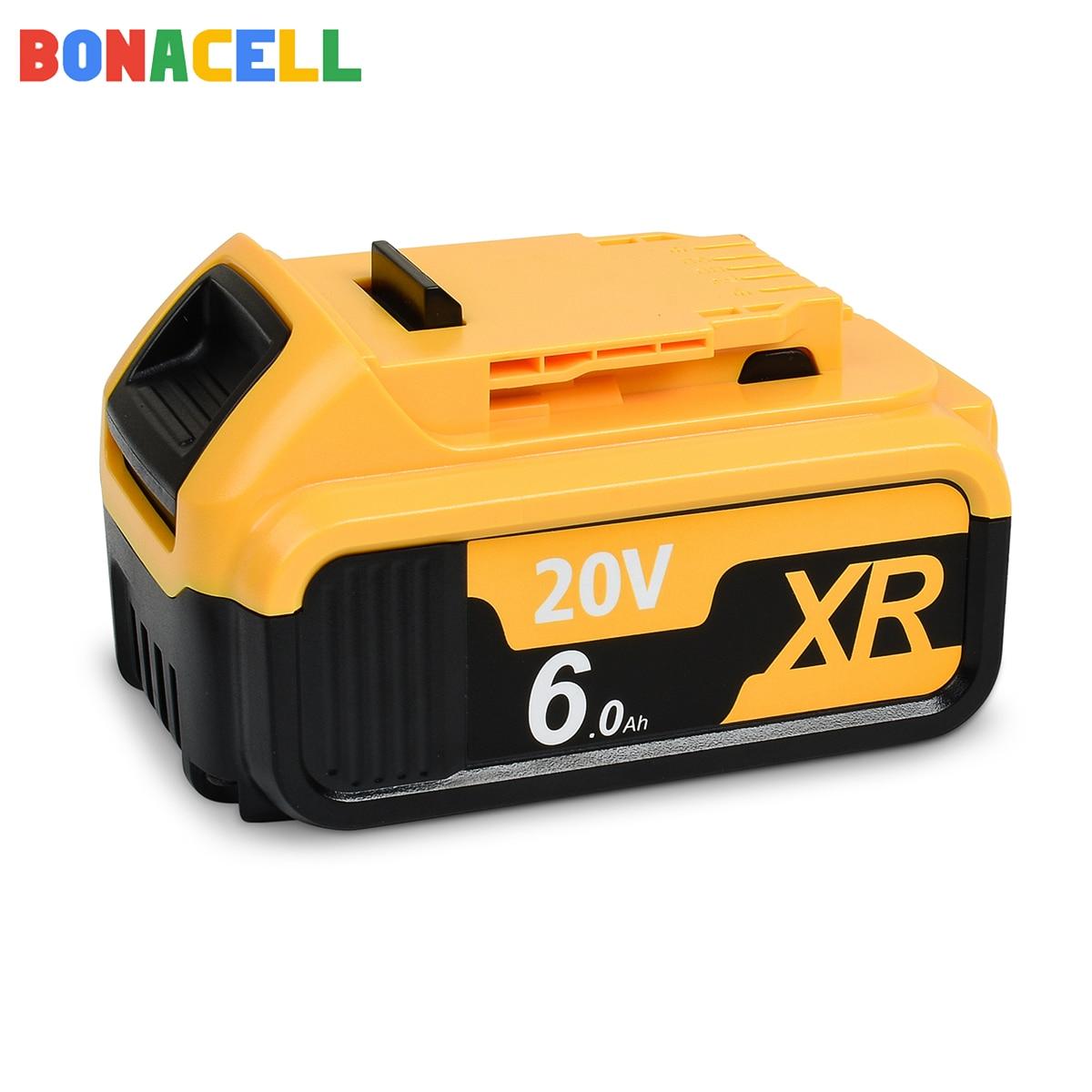 Bonacell 2 قطعة 18/20V 6.0Ah ليثيوم أيون DCB200 بطارية ل ديوالت ماكس XR الطاقة أدوات DCB184 DCB201 DCB203 DCB204 DCB205 DCB206 DCB207
