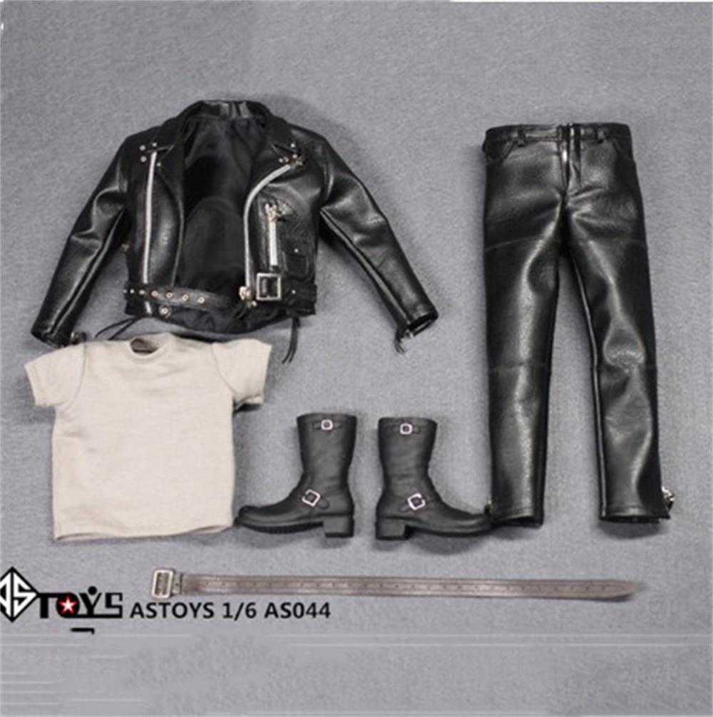 "Arnold PunK Leather Black Jacket Suits Set Model 1/6 AS044 Locomotive version Toy Fit 12"" Male Figure M35 Body Model"