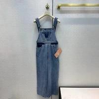 2021 brand designer summer women denim jumpsuits rompers sleeveless loose bodysuit playsuit pockets female overalls clothing