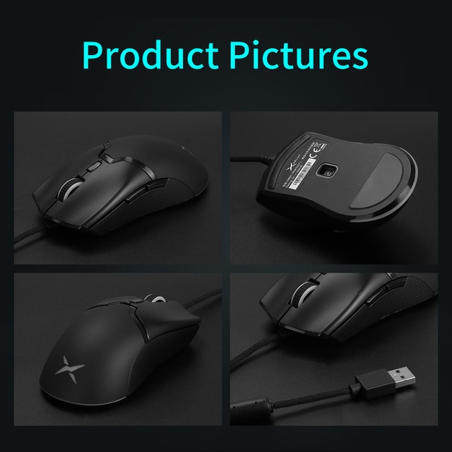 Delux M800 RGB Wired Gaming Mouse 12400-16000 DPI 58g Lightweight Ergonomic 1000Hz Mice with Soft rope Cable For Computer Gamer 10