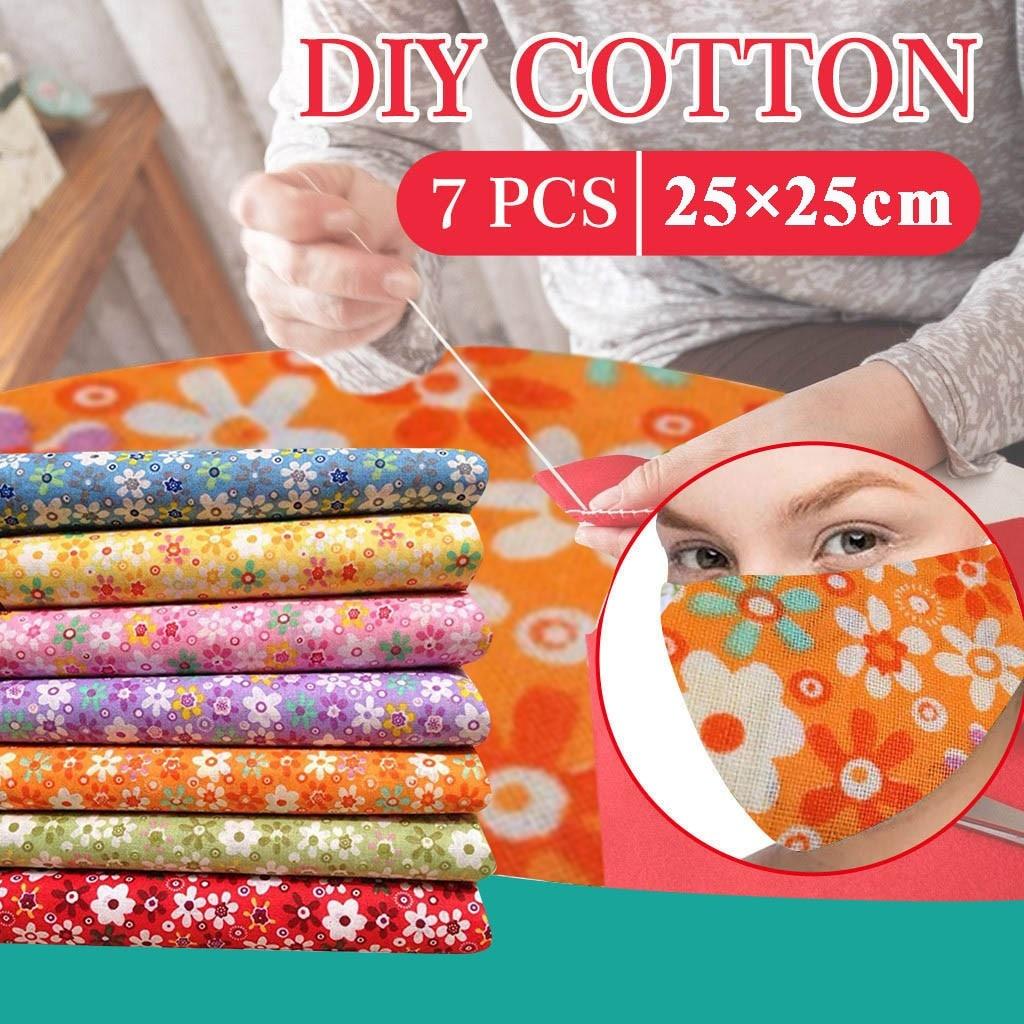 # H25 7 Uds. Paquete de tela de algodón artesanal, Patchwork cuadrados, costura Patchwork DIY 25x25cm hecho a mano, Patchwork de costura