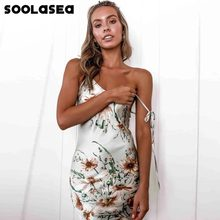 Soolasea Sexy col en V Madi robe femmes Spaghetti sangle sans manches dos nu fleur imprimer longues robes 2020 été dame Vestidos