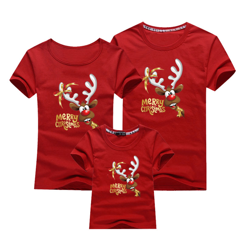 Christmas Family T-shirt Cartoon Printed Cotton Clothes Family Matching Outfits Father Mother Son Daughter T-shirt