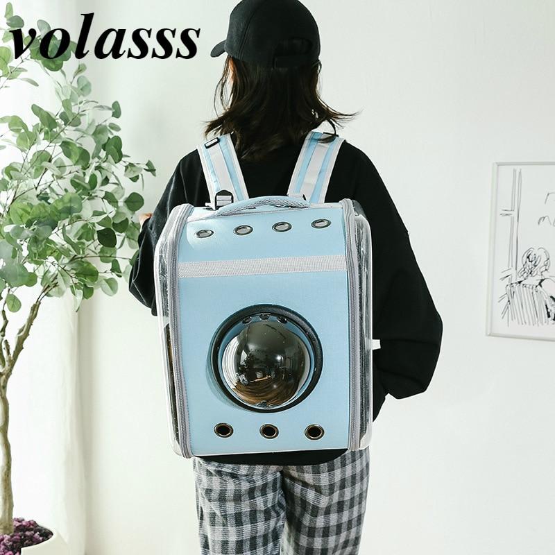Volasss Pet Cat Bag New Transparent Backpack Foldable Capsule Outdoor Portable Comfortable Backpacks Kitten Large Space Handbag