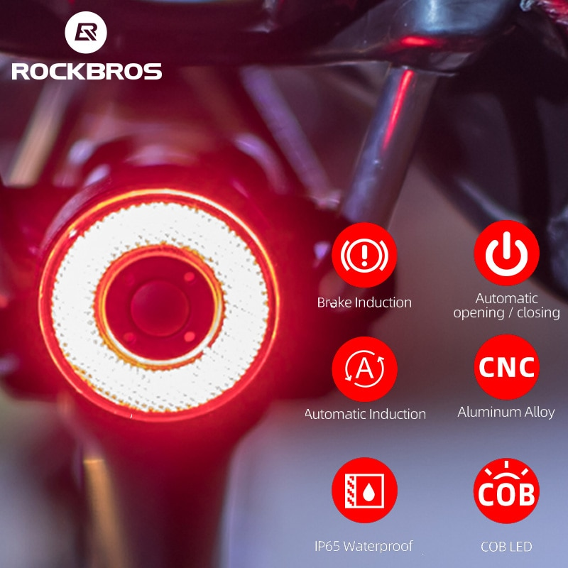 ROCKBROS Smart Bicycle Bike Rear Light Auto Start/Stop Brake Sensing Light IPx6 Waterproof LED Flashlight Bicycle Accessories