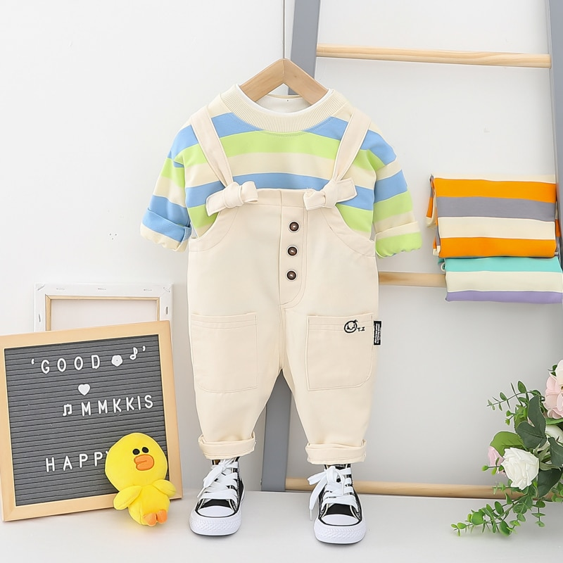 Hylkidhuose 2020 conjuntos de roupas infantis da criança primavera do bebê meninos meninas listra topos bib calças criança ao ar livre roupas de férias casuais