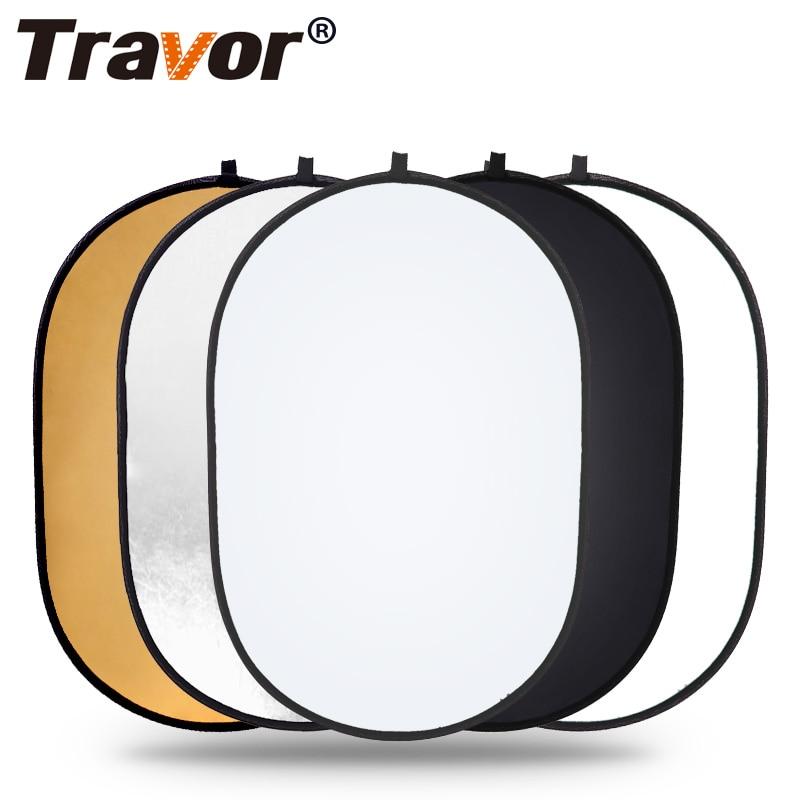 Travor 60x90cm Reflector Oval plegable 5 en 1 Multi disco fotografía estudio foto luz Reflector handhold foto portátil
