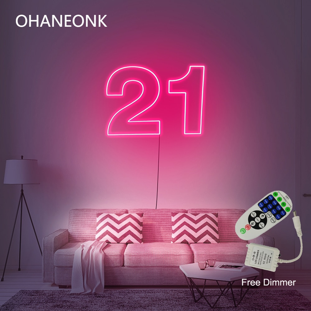 OHANEONK DropShipping 50CM Width Number 21 LED Neon Letter Custom Neon Sign For Party Birthday Decorative wwith Dimmer