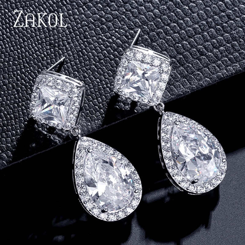 Zakol新デザインファッションスクエアティアドドロップイヤリング銅キュービックジルコニア女性作業観光FSEP2162