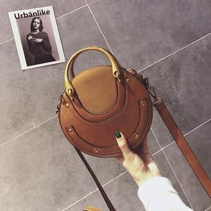 PU leather scrub round crossbody bags for women 2020 designer travel bags rivet fashion shoulder messenger bag female bags