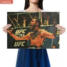 AIMEER potente famosa pistola de boca de boxeador McGregor papel kraft retro Decoración de carteles papel tapiz adhesivo