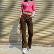 2021 New Street corduroy straight pants jogging women's casual retro Brown sports pants 90s Caramel