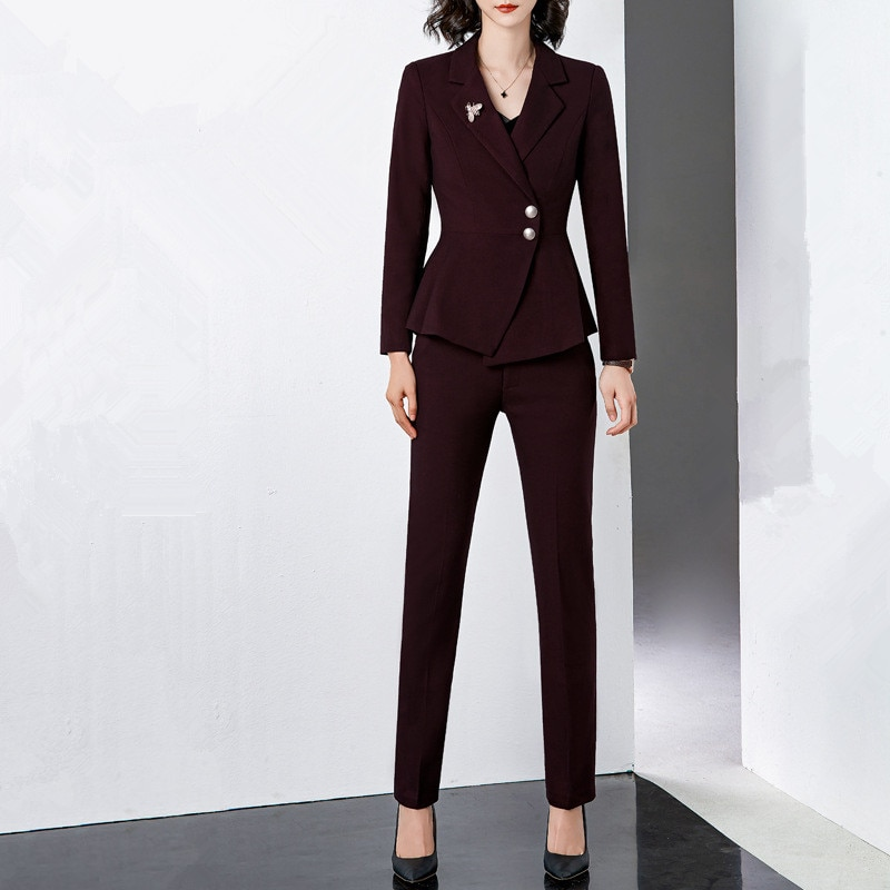 Traje profesional pantalones trajes Borgoña negro mujer traje Chaqueta slim Pantalones mujer traje de dos piezas blazer pantalones ropa de mujer