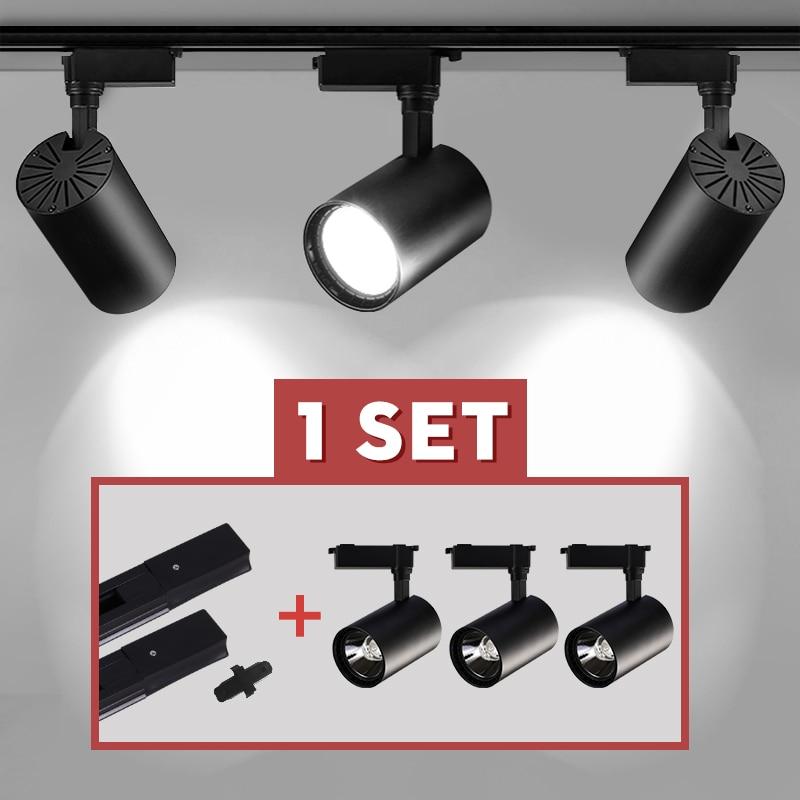 Whole Set Led Track Light COB Track Lamp 12/20/30/40W Rail Spot Lighting Led Spotlight Fixture For C