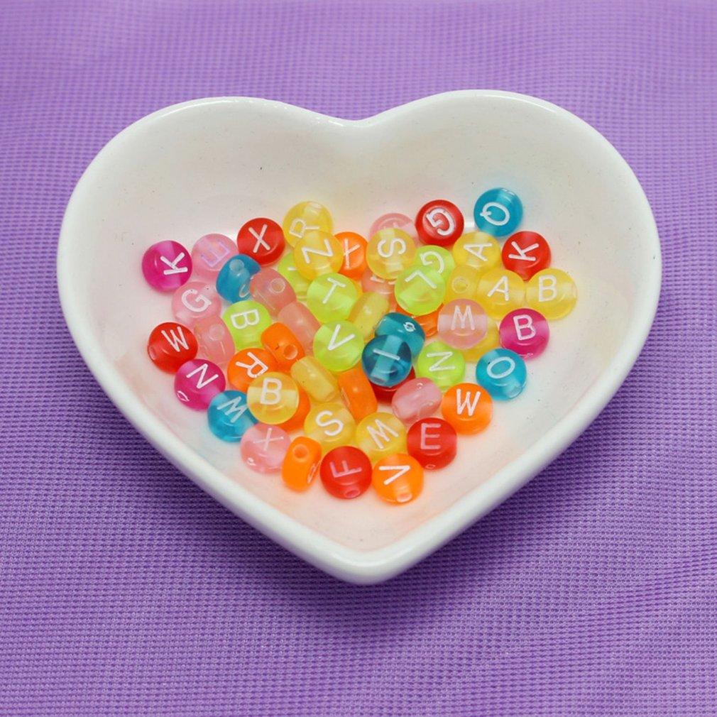 Cuentas redondas de colores surtidos de 4x7/6x6mm, cuentas con letras de acrílico para hacer joyería para mujeres, Material Diy, espaciador suelto, abalorios del alfabeto, venta al por mayor