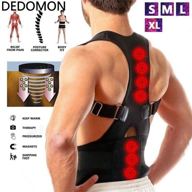 New Adjustable Posture Corrector Male Female Magnetic Back Support Nylon Elastic Shoulder Back Brace