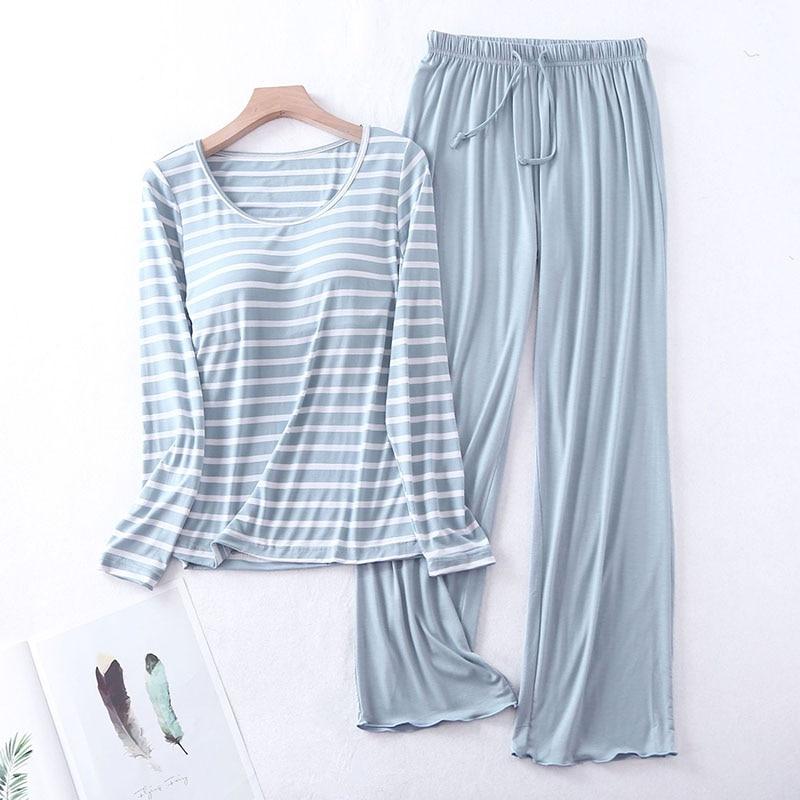 Sanderala, conjuntos de pijamas de Modal de otoño para mujer, camiseta acolchada de manga larga con cuello redondo, camiseta fácil de combinar, sujetador largo Johns, ropa de casa a rayas