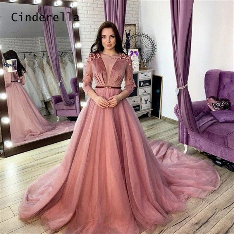 Vestido de noche rosa con cuello en V, manga larga, Velour, cremallera,...