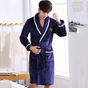 Hommes Kimono décontracté peignoir automne hiver flanelle longue Robe épais chaud vêtements de nuit grande taille 3XL chemise de nuit mâle vêtements de maison en vrac