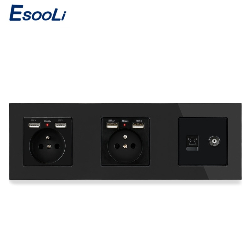 ESOOLI-لوحة زجاجية ومقبس قياسي فرنسي مزدوج مع 4 منافذ شحن USB وموصل هاتف RJ11 وموصل تلفزيون