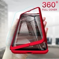 with glass screen film phone case for xiaomi redmi k20 note 7 6 5 7a 9t go 5a 6a pro thin 360 degree shockproof protection cover