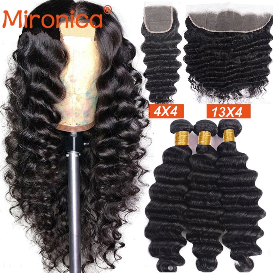 Mironica Hair Loose Deep Wave Bundles with Closure 100% Human Hair Bundles with Frontal 3/4 Bundles With Closure Hair For Woman