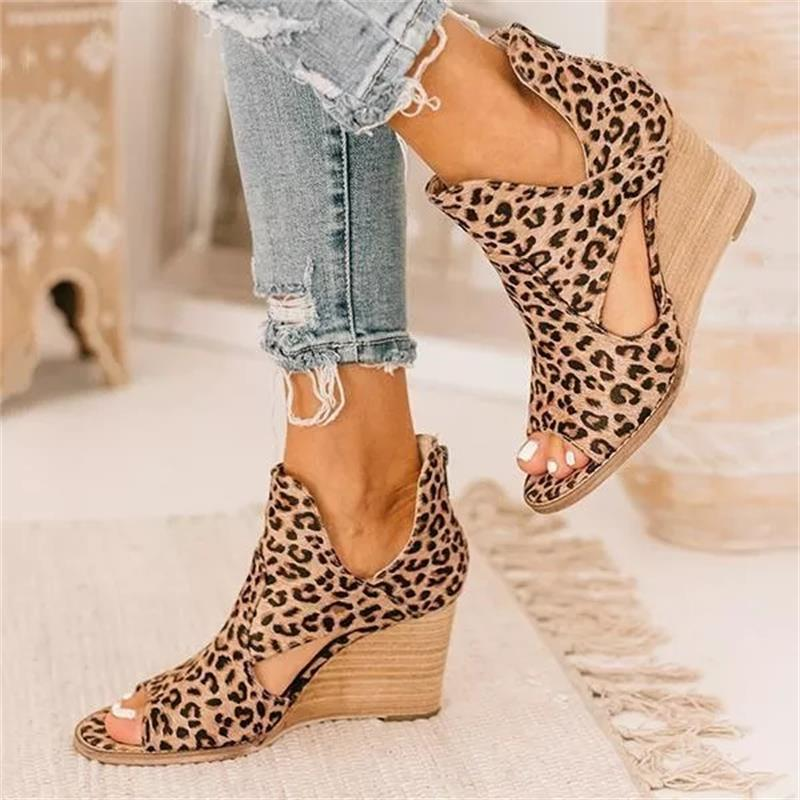 new women's shoes, fashion trend professional wild leopard print suede open toe back zipper comfortable wedge sandals 6KF152
