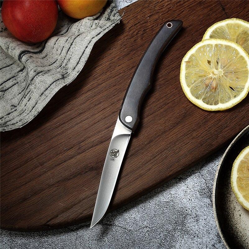 AliExpress - Folding Knife Japanese Style Ebony Handle Kitchen Meat Cutting Fruit Knife Multifunctional Handmade Utility Knife