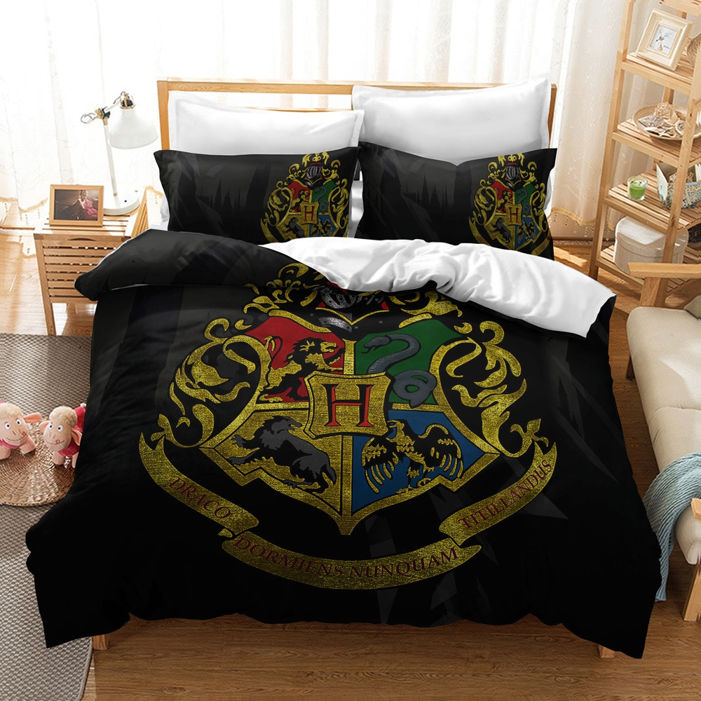 3d impressão dos desenhos animados potter filme clássico jogo de cama casa têxtil fronha tamanho consolador conjuntos cama rei magia capa edredão conjunto