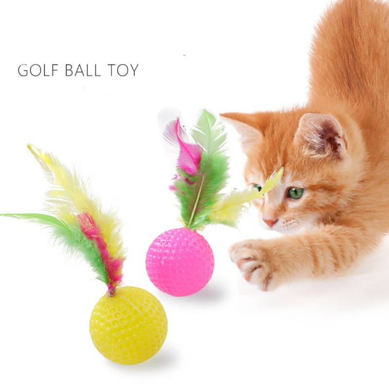 1/3/5PCs New Funny Plastic Golf Ball Cat Toy Interactive Kitten Cat Teaser Ball Toy with Feather Ran