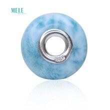 Larimar naturel pierre à cheveux perle plate suspendus Bracelet avec perles 925 argent bleu Larimar cadeau