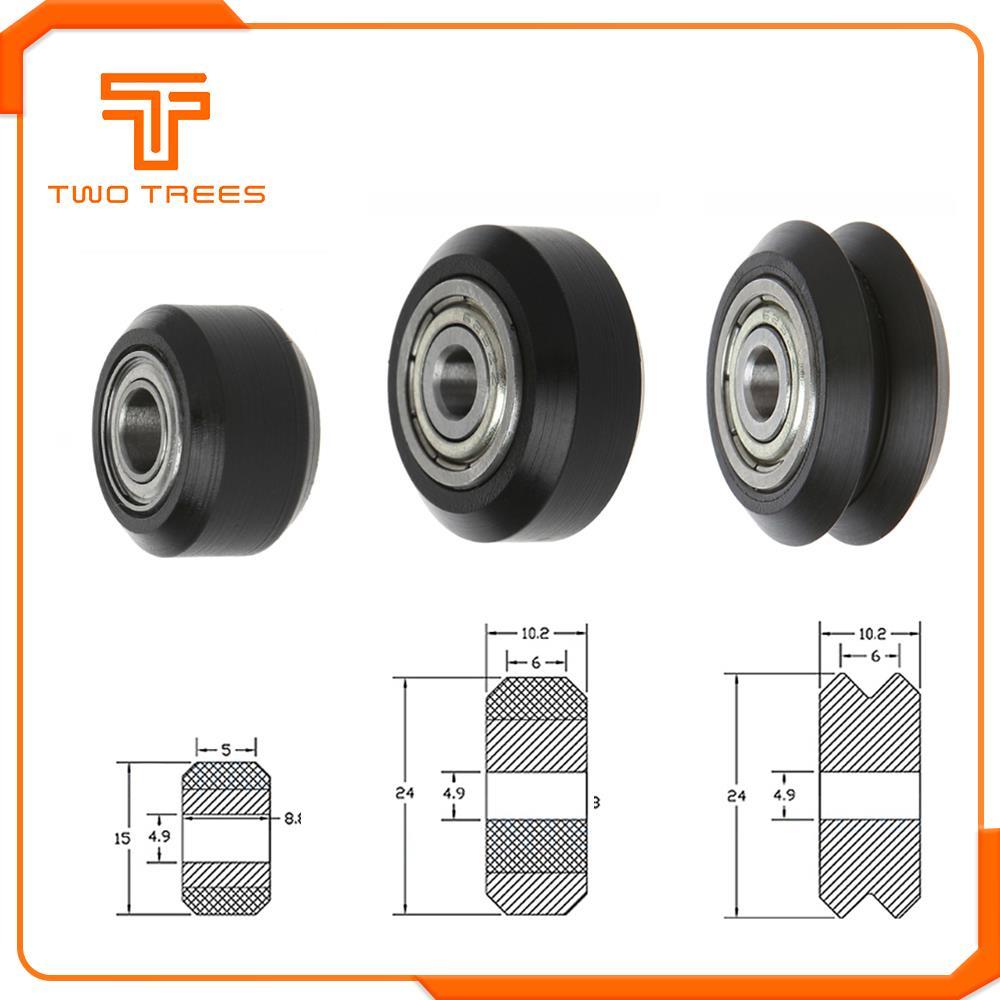 10 unids/lote CNC Openbuilds rueda POM con rodamientos grandes modelos rueda redonda pasiva rueda roldana engranaje perlin rueda para Ender 3 Bluer