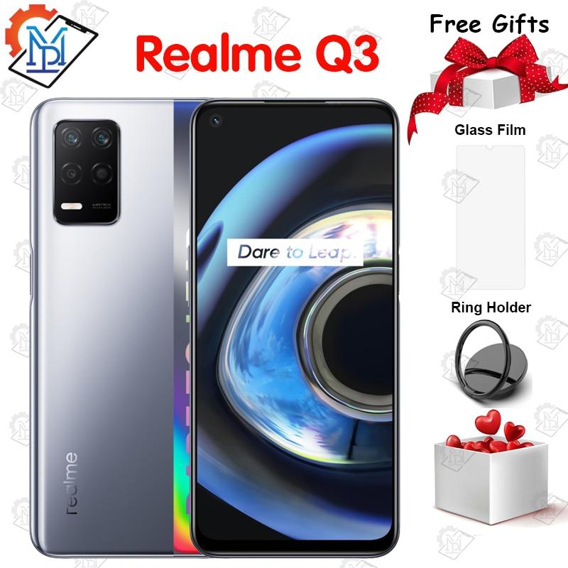 Перейти на Алиэкспресс и купить Оригинальный Realme Q3 5G мобильный телефон 6,5 дюйм120 Гц 6 ГБ + 128 Гб Snapdragon 750G Android 11,0 48.0MP Fingerprintt Face ID смартфон