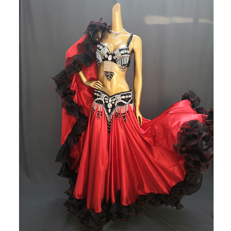 High Quality New Women 720° Belly Dancing Skirt Large Swing Dress Stage Performance Wear Belly Danc