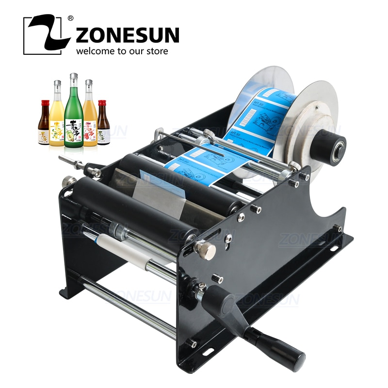 ZONESUN Simple Manual Beer Cans Water Wine Glass Adhesive Sticker Labeler Applicator Mini Plastic Round Bottle Iabeling Machine