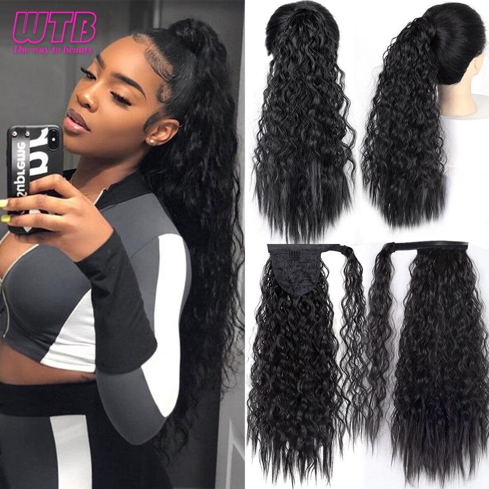 Peluca sintética de cola de caballo larga rizada de maíz WTB de 50cm envuelta en extensiones de cabello para mujeres