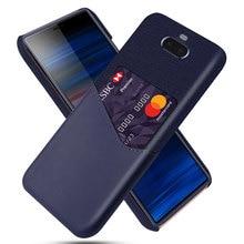 DCK Leather Hard Cloth Card Phone Cases for Sony Xperia XZ Premium XZ1 Compact XZ2 XZ3 XZ4 Slim Hybrid Hard Platic Phone Cover
